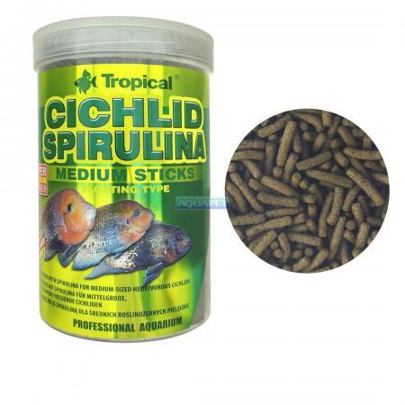Ração p/ Cichlid Spirulina Medium Sticks Tropical 250ml 90g