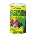 Ração p/ Cichlid Spirulina Medium Sticks Tropical 250ml 90g