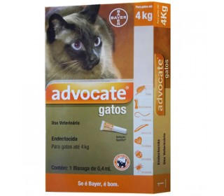 ANTIPULGAS E CARRAPATOS ADVOCATE GATOS 0,4ML(ATE 4KG) BAYER