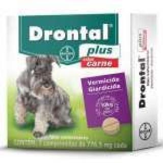 Vermifugo Drontal Plus Cães até 10kg sabor carne c/2 comp